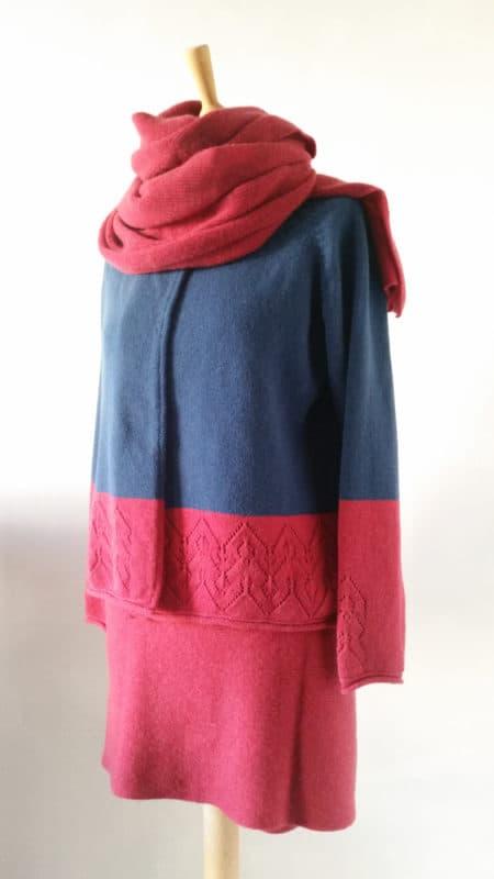 Strickkombi blau - rot