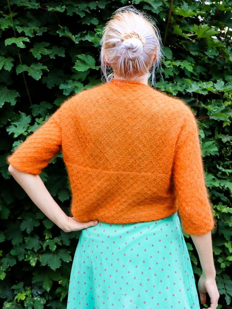Wende-Bolero orange lang von hinten